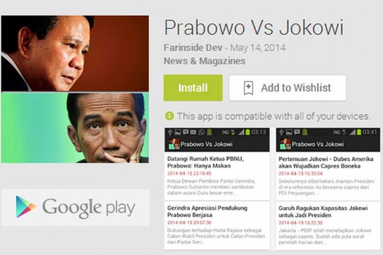 Mengintip Aplikasi Prabowo Vs Jokowi di Android