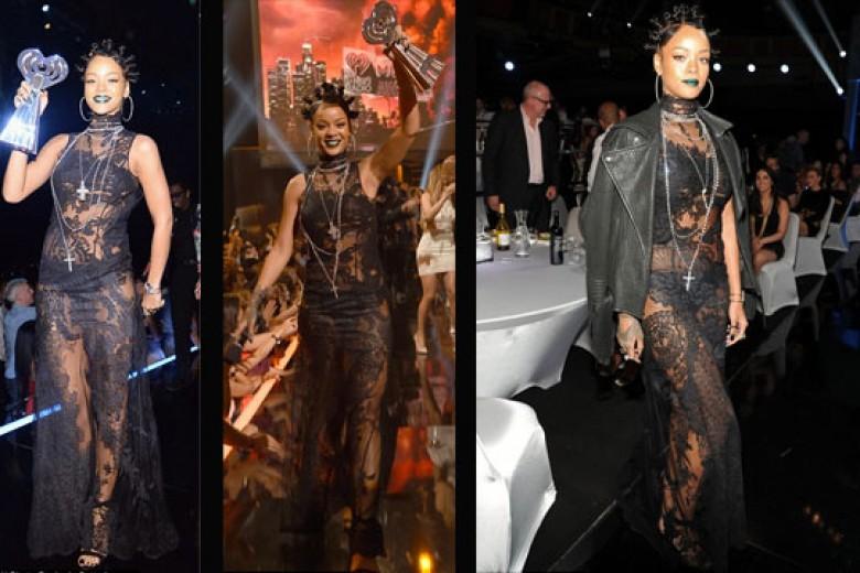 Gaya Rihanna Dalam Gaun Renda Brokat Hitam